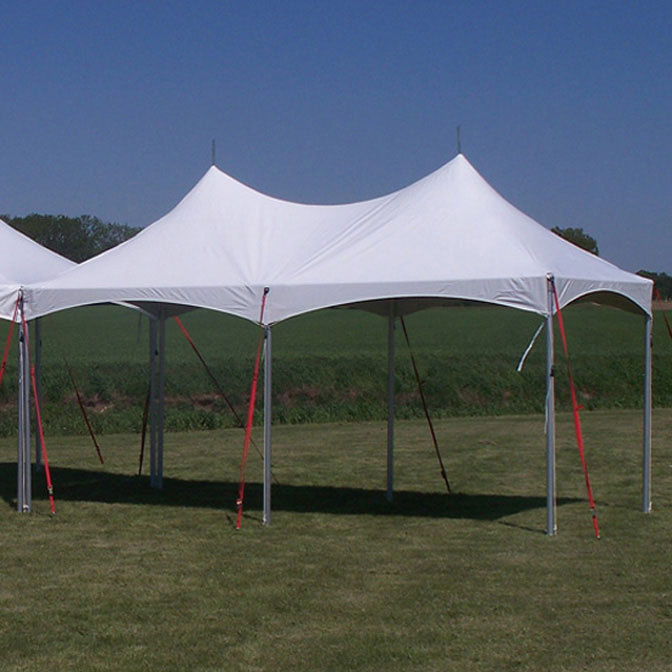 Frame tent with peaks on grass
